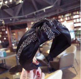 2019 koreanische mädchen kopfband Kristall Haarschmuck Frühlings-Herbst-Frauen Bogen Haarband-Kopf-Verpackungs koreanische Baumwollgewebe Boho Turban Stirnband-Haar Mädchen GB482 günstig koreanische mädchen kopfband