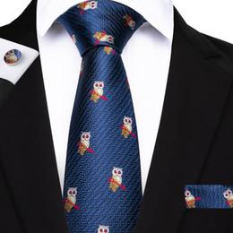 b08c2a209b874 anzug taschen quadrate für männer Rabatt Hallo Krawatte Neue Designer Marke  Krawatte Für Männer Blaue Eule