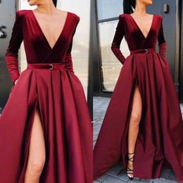 hot prom dresses splits Promo Codes - Sexy High Split Burgundy Evening Dresses 2020 New Hot Selling Custom Sweep Train Deep V-Neck A-Line Long Sleeve Formal Prom Party Gowns E026