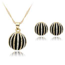 семена установлены Скидка Семена дыни кулон ожерелье серьги ювелирные наборы для женщин мода половина мяч аксессуары элегантный ожерелье подарки для нее