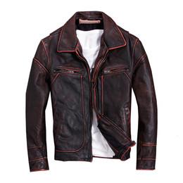2019 Vintage Red Brown Männer amerikanisches beiläufige Art Lederjacke plus Größe 5XL echtes Rind Herbst Ledermantel FREE SHIPPING