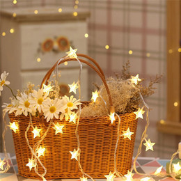 estrela decorativa da luz de natal Desconto 10/20 / 40LED Star Light Cordas Guirlandas de Cintilação Alimentado Por Bateria Lâmpada de Natal Luzes de Fadas Decorativas Do Feriado Do Partido Do Casamento
