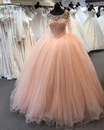 Romantic Coral 3d Floral Flowers Quinceanera Prom Dresses 2019 Ball Gown Jewel Neck Lace Long Sleeves Sweet 16 Dress Vestidos 15 Anos