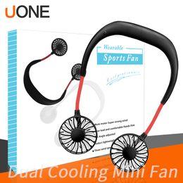 2019 google chromecast all'ingrosso 2019 Portable USB ricaricabile Neckband Lazy Neck Hanging Dual Cooling Mini Fan sport Ventilatore a collo pendente rotante a 360 gradi