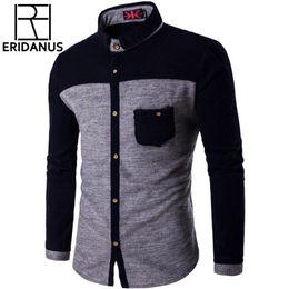 7078c22106b1 Knitted Mens Shirts Long Sleeve Cotton Polyester Parchwork Shirts Classic  Button-down Soft Casual Shirt Slim Fit 4XL 5XL X493 D18102901