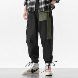 Botones de pantalones holgados online-2019 Descuento Solo Hoy Pantalones Cargo de Algodón Para Hombres Negro Bolsillo Grande Causal Baggy Japonés Pantalones Harem Homme de Gran Tamaño Botón