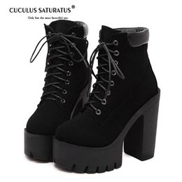 мягкие каблуки Скидка Cuculus Fashion Black  Boots Women Spring Autumn Lace-up Soft Leather Platform Shoes Woman Party Ankle Boots High Heels