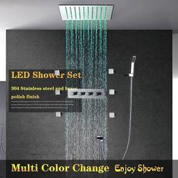 Levou incorporado chuveiro on-line-12 '' Eletricidade Poder LED Light Shower Set Duche SPA Jets Spray embutido na parede do chuveiro Set sistema torneiras de chuva