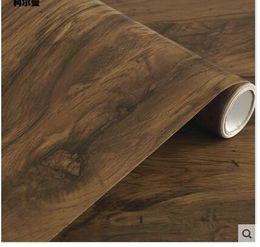 2019 papel de parede imitação de madeira Auto-adesivo imitação de madeira-grão papel de parede mesa de guarda-roupa porta do armário de móveis antigos renovação do hotel papel de parede desconto papel de parede imitação de madeira