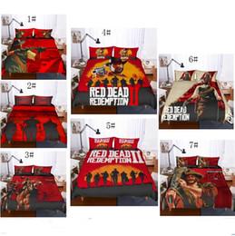 Housses de gb en Ligne-3D Red Dead Redemption 2 Design Literie Set 2PC 3PC Housse de couette Ensemble de housse de couette Taie d'oreiller Double Full Queen Taille AU NOUS GB