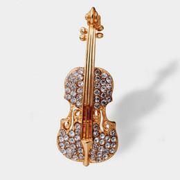 Violons en cristal en Ligne-Broche en cristal de bijoux de forme de violon de femmes uniques de mariage Pin Up Broche