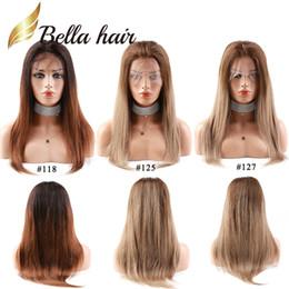 2019 cheveux humains raides pour tresses Bella Hair® Nouvelle Arrivée Couleur # 118 # 125 # 127 Full Lace Perruques Cheveux Humains Tresse - Qualité de Cheveux - Casquette Moyenne Réglable cheveux humains raides pour tresses pas cher