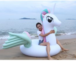 rainbow beds Promo Codes - 15 2019 new inflatable water floating row mount buoy unicorn rainbow horse pvc inflatable water inflatable bed
