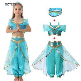 Jasmim princesa dress para big girl cosplay halloween crianças headband + top + saia calça 3 pc outfit kid party disfarce conjunto de Fornecedores de corações de lantejoulas brancos