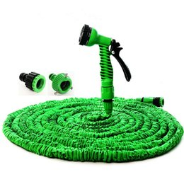 water garden pipe spray Promo Codes - Wholesale 25FT-150FT Plastic Materials A+Quality Blue Water Spray Nozzle Sprayers &Expandable Flexible Water hose Garden Pipe Set