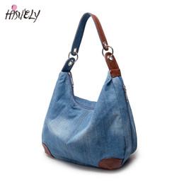 Bolsas azuis bonitos on-line-enim de designer de moda bolsas Mulheres causais Bolsas Ladies Denim Bolsa Grande Shoulder Bags Blue Jeans Tote Mujer Bolsa bonito Designer Femal ...