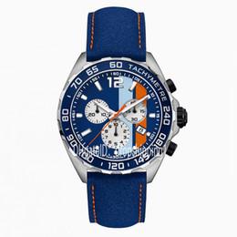 Japan movement relógio de quartzo on-line-Relógio de luxo mens cronógrafo de quartzo relógios clássico pulseira de couro azul 5 ATM à prova d 'água super luminoso Japão VK movimento