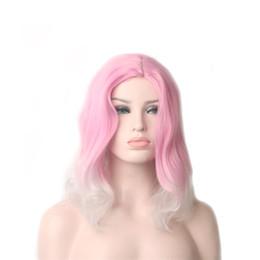 Perucas curtas curly mulheres brancas on-line-WoodFestival perucas curtas para as mulheres gradiente rosa cabelo ombre branco onda solta peruca sintética encaracolado senhoras