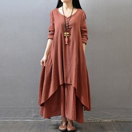 abito bianco lunghezza alla caviglia di tela Sconti Abito estivo donna manica lunga casual estate donna abito lungo lino bianco rosso caviglia abiti estivi in lino 5XL