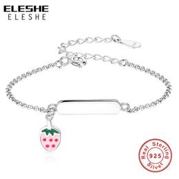 3a276d9d523a 2019 pulseras de plata esterlina grabadas ELESHE Personalizado Grabado  Nombre Pulsera Ajustable 925 de Plata de