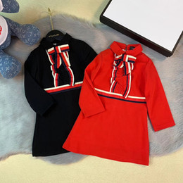 Frete grátis bebê menina vestido de manga longa crianças arco 2019 primavera outono algodão vestido vermelho crianças roupas de
