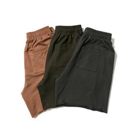 Algodão casual calças para homens on-line-2019 Verão Kanye West Temporada 6 Homens Cor Sólida Shorts Hiphop Streetwear Calças de Algodão Casuais Shorts