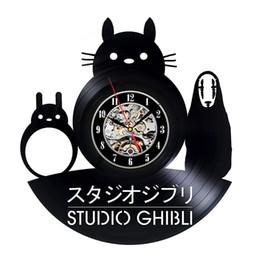 2019 decoração do quarto totoro Totoro estúdio ghibli relógio de parede design moderno decorativo kids room relógios de vinil relógio de parede home decor presente para crianças estudante decoração do quarto totoro barato
