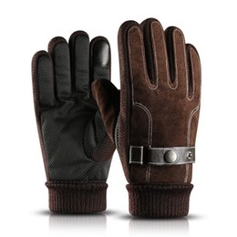 65db4fa9e5a63 Gloves men winter riding Pigskin Leather plus velvet gloves Touch Screen  Mittens warm motorcycle Thicker cycling cotton