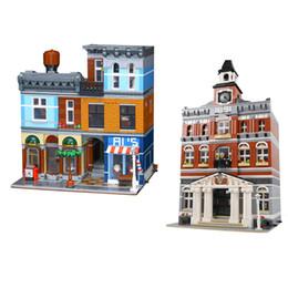 Regalos de los pasillos online-Venta al por mayor 15003 15011 The Town Hall Detective Agency Legoing 10224 10246 calle modelo bloques de construcción ladrillos juguetes regalo de los niños