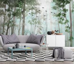 Papéis de parede verdes simples on-line-Plantas Verdes Papel De Parede Simples Limpo Floresta Elk Nordic TV Sofá Decoração De Fundo Mural Papel De Parede