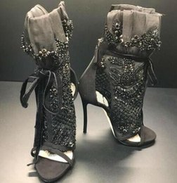 sandali in pizzo perline Sconti Crystal Bead Black Women Zipper Stivaletti Open Toe Tacco alto Lace Up Party Donna Scarpe Summer Mesh Cut-outs Sandali Big Size