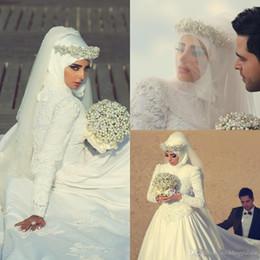 Casamento hijab frisado on-line-Árabe Hijab vestidos de casamento muçulmanas apliques de contas alta Neck mangas compridas Custom Made A linha Romantic vestidos de noiva Vestidos de casamento 2020