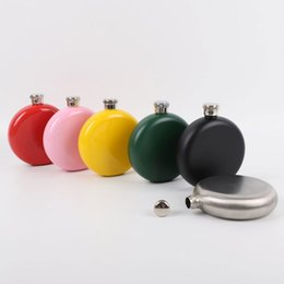 bottle whiskey flask Coupons - 5oz Round Colorful Stainless Steel Hip Flask Portable Liquor Wine Pot Stainless Steel Hip Flask Travel Whiskey Bottle
