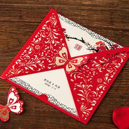 Invitations de mariage découpées au laser de fleur rouge de papillon, cartes d'invitation de style chinois pour la douche nuptiale fiançailles livraison gratuite ? partir de fabricateur