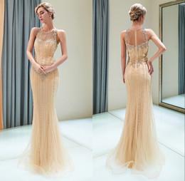86c5b683e8a9 vestiti dorati eleganti sexy Sconti 2019 nuovo design elegante sirena d oro  abiti da sera