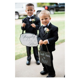 2019 abito da sposa in tuxedo nero Custom Boys Suit 2019 Black Boy Smoking Smoking bambini festa di compleanno indossare anello Bearer Suit (Jacket + Pants + Vest + Bow) abito da sposa in tuxedo nero economici