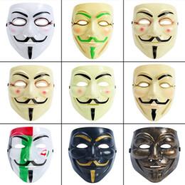 Mascherata maschera completa online-Maschera di Halloween Vendetta Maschere a pieno facciale Maschere da film Masquerade Decorazione Puntelli V Party Maschile Maschera di Halloween da donna 9 Stile HHA735
