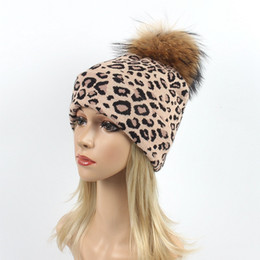 56cc568c929 Women Winter Hats Beanie Leopard Knitting Caps Skull Warm Casual Hat Real  Raccoon Fur Pom Pom Ball Hats Soft Female Beanies Snow Caps