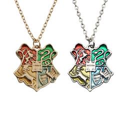 College-schmuck online-Mode Harry Hogwarts Abzeichen Halskette Magic Wizard College Anhänger Ketten Frauen Männer Potter Schmuck Keychain Weihnachtsfeier Geschenk HH7-1913