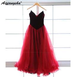 Vestiti di laurea in velluto online-Red Velvet 2019 Prom Dresses lunghi Sweetheart Tea-Length Tulle Prom Gown per la cerimonia formale Prom Dress Prom
