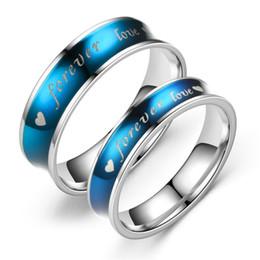 Für immer stahlschmuck online-Blue Fashion Ring für Liebhaber Neueste Ringe mit Forever Love Worten Beliebte Schmuck Edelstahl Wearable Devices