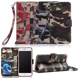 Canada Etui camouflage Army Army en cuir pour iPhone 7 6 6S Plus 5 5S SE Motif PU Card Wallet Case Armor Coques de protection pour téléphones Offre