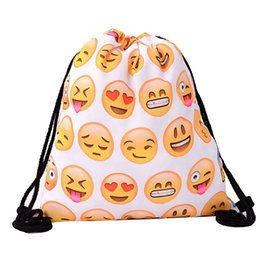 2bb92fe19a3c Print 39x30cm Harajuku Cute Drawstring Bags Canvas Kawaii Emoji Storage Bags  Small Backpack 3d Printed Womens Men Bag Cloth