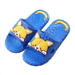 Niños zapatos descalzos online-Zapatillas de verano para niños Perro de dibujos animados lindo Zapatos de playa para niños Barefoot Home Bathing Soft Boys Girls Zapatillas para niños pequeños