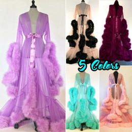 Luxus Sexy Spitze Nacht Robe Frauen Kimono Nacht Maxi Kleid Kleid Mesh Langarm Pelz Babydoll Party Nachtwäsche Nachthemd Roben von Fabrikanten