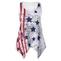 Senhoras impresso veste tops on-line-Senhoras Listrado Colete Tops Designer de Camisas Das Mulheres T Estrelas Impressão Roupas Casuais Independência DA Bandeira Americana Dia Nacional EUA 4 De Julho