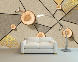 2021 3d efeito papel de parede sala de estar 3d Modern Wallpaper Effect picture of wood section Living Room Bedroom Silk Mural Wallpaper