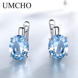 свадебные ювелирные изделия с бриллиантами Скидка UMCHO Oval Nano Sky Blue Topaz Colorful Gemstone Clip Earrings Solid 925 Sterling Silver Earrings For Lady Wedding Gift Jewelry