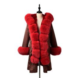 capuz de pele vermelha Desconto TOPFUR 2019 Brasão Mulheres Winter Natural Fox Fur Parka Com capa Outwear Red Parkas Moda Brown Parkas Mulheres Jaquetas real Fur