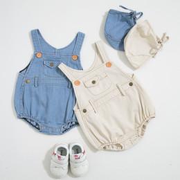 2019 projeto romper infante Baby girl Designer de Roupas Romper Infantil Denim Projeto Sem Mangas Suspender Romper + chapéu 100% roupas de Verão de algodão projeto romper infante barato
